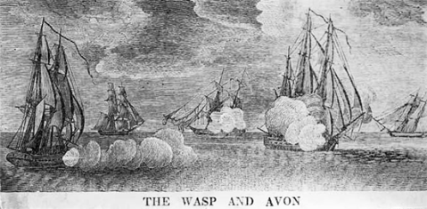 An engraving of the Wasp in battle. Courtesy of the North Carolina Museum of History.