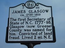 Photograph of the James Glasgow Highway Historical Marker near Snow Hill in Greene County, N.C..  Used courtesy of the North Carolina Highway Historical Marker Program, North Carolina Department of Cultural Resources.