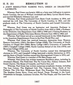 "North Carolina General Assembly. 1979. ""Resolution 12: A Joint Resolution Naming Paul Green as Dramatist Laureate."""