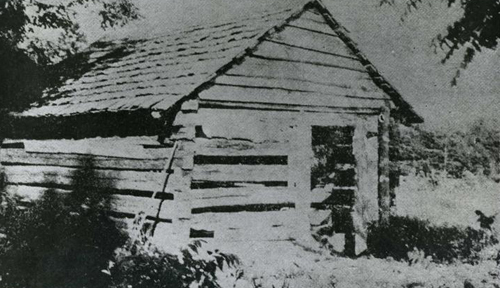 Photo of the (reputed) house of Nancy Hanks Licoln, mother of Abraham Lincoln.  Near Belmont, NC. Image courtesy of the NC Museum of History.