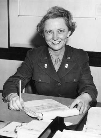 """Women's Army Auxillary Corps (WAAC) Lieutenant Westray Battle Boyce Poses for a Photograph"", October 27, 1942."