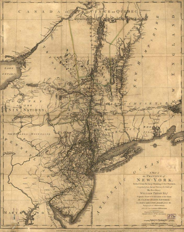 "Image of ""map of the Province of New-York reduc'd from the large drawing of that Province, complied from actual surveys by order of His Excellency William Tryon, Esqr., Captain General & Governor of the same,"" published 1776 by Claude Joseph Sauthier. Presented on Library of Congress."