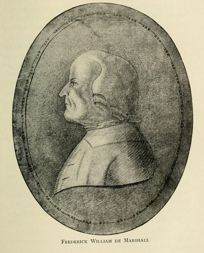 "Frederic William Marshall. Image courtesy of ""History of Wachovia in North Carolina; the Unitas fratrum or Moravian church in North Carolina during a century and a half, 1752-1902."""