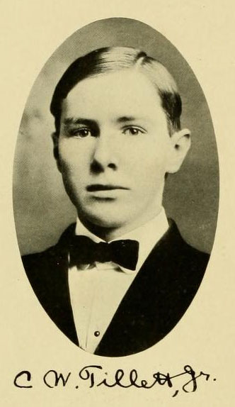 Image of Charles Walter Tillet, Jr., from University of North Carolina at Chapel Hill's Yackety Yack  Yearbook, [p. 63], published 1909 by the Univeristy of North Carolina at Chapel Hill. Presented on Internet Archive.