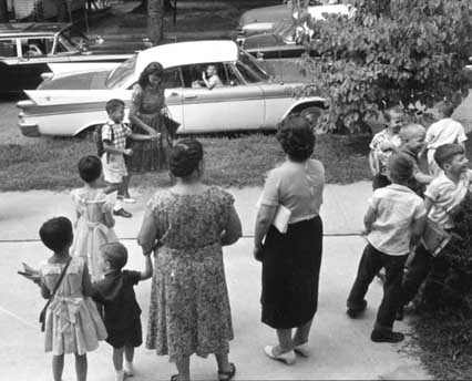 """Opening day for William Campbell, the first to integrate Raleigh City Schools, 1960. Courtesy of the News and Observer Negative Collection, North Carolina State Archives."" Available online from the NC Museum of History."