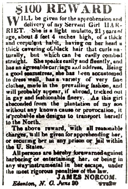 Runaway slave notice about Harriet Jacobs