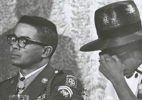 Lawrence Joel (pictured with wife Dorthy) of Winston-Salem was the first African American to receive a Medal of Honor, 1967. Image courtesy of Digital Forsyth.