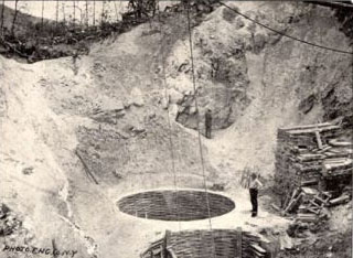Kaolin Mine, Harris Clay Co., Near Webster. From Clay Deposits and Clay Industry in North Carolina, by Heinrich Ries, 1897.