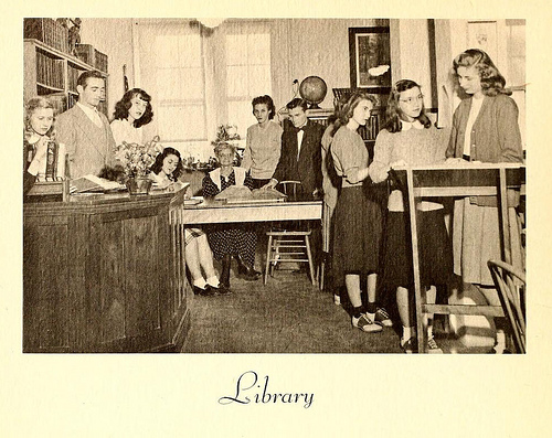"Photo of the college library at Lees-McRae College in Banner Elk, N.C., 1948. From the 1948 ""Ontaroga"" (p. 58). Image courtesy of the North Carolina Digital Heritage Center."