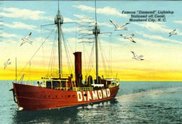 """Famous ""Diamond"" Lightship Stationed off Coast, Morehead City, N.C."" ca. 1948 Image courtesy of the North Carolina Collection, UNC Libraries."