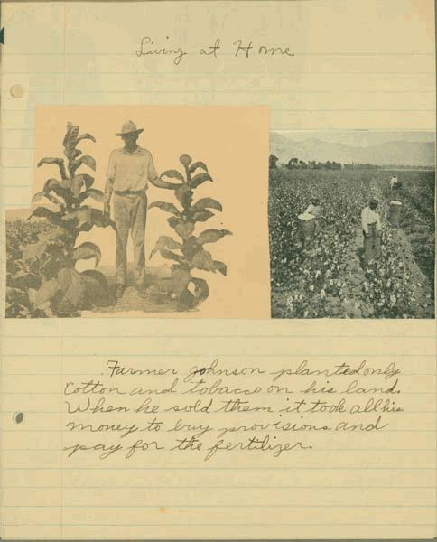 In his scrapbook about the Live-at-Home program, fifth-grader Isador Wade warned against relying solely on cash-crop agriculture.