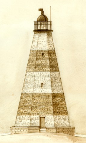 An artist's rendition of the 1812 lighthouse.