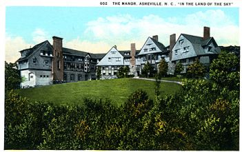 """602 The Manor, Asheville, NC """"In the Land of the Sky"""" published by the Asheville Post Card Co., Asheville, NC."" From the Georgia Historical Society Postcard Collection, c. 1905-1960s, PhC.45, North Carolina State Archives, call #: PhC45_1_Ash134, Raleigh, NC"