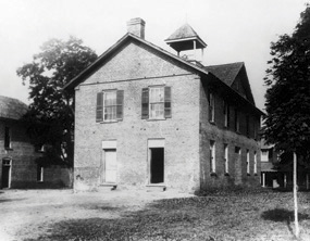 """ The First Campus Building (1856-1910)."" Image courtesy of Mars Hill College."