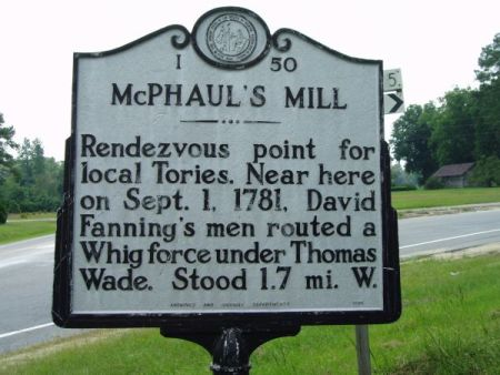 McPhaul's Mill, NC Historical Marker. Image courtesy of the North Carolina Office of Archives & History.