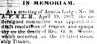 Oscar Scott Woody memoriam in the May 5, 1912 Fairfax Herald.