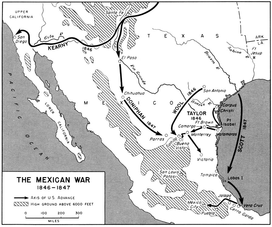The Mexican War, 1846-1847: Map of operations. From American Military History, by the United States Army Center of Military History, 1989.