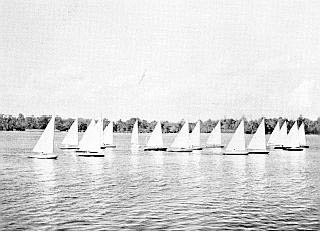 """Moth Boat Regatta on Pasquotank River, c.1940, Museum of the Albemarle."