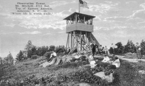 Postcard from 1920 showing the observation tower on the summit of Mount Mitchell and incorrectly listing its elevation as 6,711 feet. The exact height of Mount Mitchell was not established until well into the twentieth century. North Carolina Collection, University of North Carolina at Chapel Hill Library.