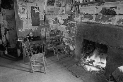 """Interior of mountain farmhouse, Appalachian Mountains near Marshall, North Carolina."" 1936. Image courtesy of Library of Congress."
