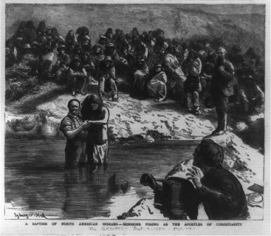 """A baptism of North American Indians - Mormons posing as the apostles of Christianity."" 1882, wood engraving. Image courtesy of Library of Congress."