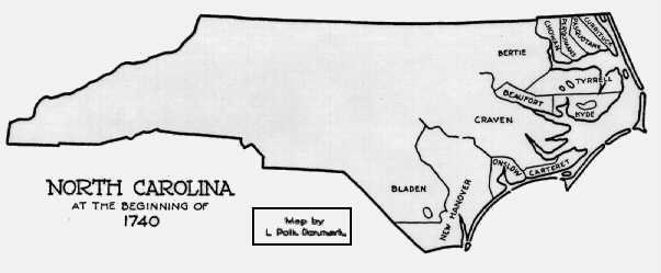 Map of North Carolina counties circa 1740