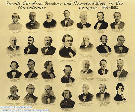 """North Carolina Senators and Representatives in the Confederate Congress, 1861-1865."" Photographic print. View larger. Neg. 77-1227. FFP3. North Carolina Collection, University of North Carolina at Chapel Hill Libraries."