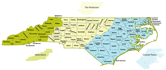 Click to see a large version. NC regions and counties.