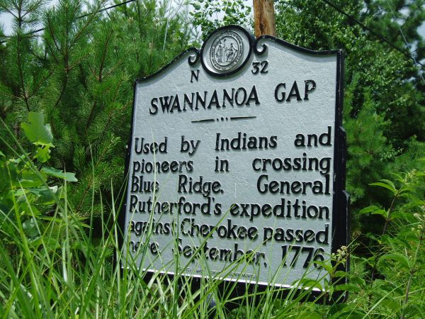 NC Marker: Swannanoa Gap. Image courtesy of NC Office of Archives & History, marker #: N-32.