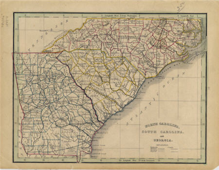 North Carolina, South Carolina and Georgia map, 1841.