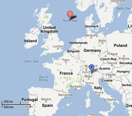 North Sea to the Alps. Map by Google.