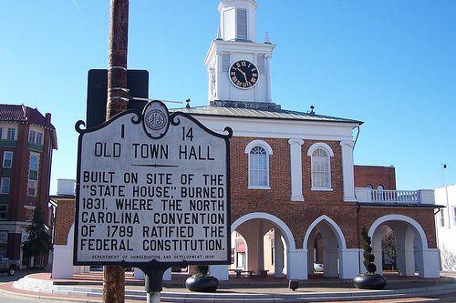 """Old Town Hall Historical Marker."" February 5, 2009. Available from: Flickr Commons user Stephen Conn."
