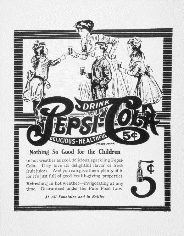 Early Pepsi poster, circa 1900-1910, claiming it has health benefits. Image courtesy of the NC Museum of History.