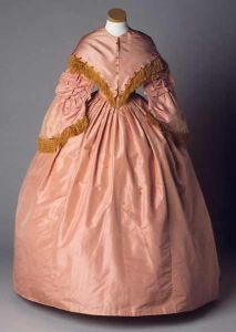 """A woman belonging to the planter class might have worn a gown such as this one which belonged to Mary Eliza Battle Pittman and was made between 1857 and 1859."" Image courtesy of the North Carolina Museum of History."