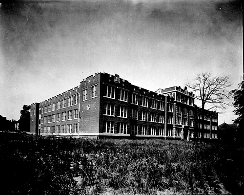 Exterior of Hugh Morson High School, Raleigh, NC, no date (c.1930-1940s). From the Albert Barden Collection, North Carolina State Archives, call #:  N.53.15.288 .