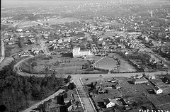 Aerial view, Raleigh Little Theatre and site of Rose Garden, Raleigh, NC, February 11, 1949. From the Albert Barden Collection, North Carolina State Archives, call #:  N.53.15.3019.