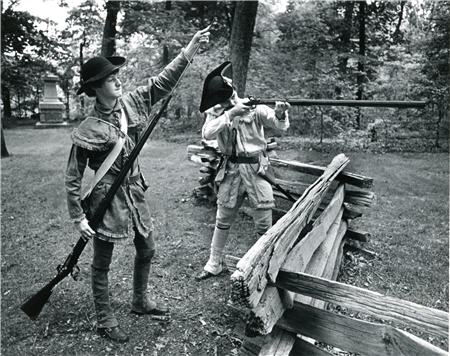 Revolutionary War militia reenactors at the Guilford Courthouse National Military Park