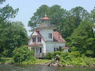 The Roanoke River lighthouse on land.