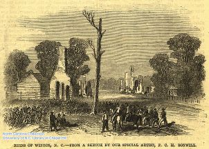 """Ruins of Winton."" Frank Leslie's Illustrated Newspaper, October 24, 1863. Courtesy of North Carolina Collections at the University of North Carolina Libraries."