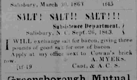 Advertisement for salt from the November 30, 1863 issue of the Carolina Watchman, a weekly and semi weekly newspaper from Salisbury, North Carolina.