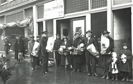 Salvation Army Christmas Package Distribution, Greensboro, NC, c.1930-1939. From the Charles A. Farrell Photo Collection, North Carolina State Archives, call #:  PhC9_1_80, Raleigh, NC.