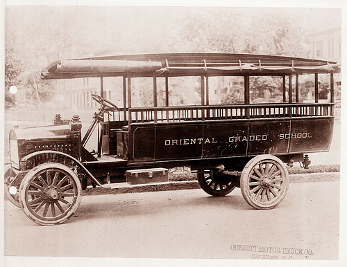 School bus made by the Corbitt Truck Company in Henderson, NC, for Oriental Graded School, Pamlico County, NC, c.1917. From the General Negative Collection, North Carolina State Archives, call #:  N_80_3_57,  Raleigh, NC.