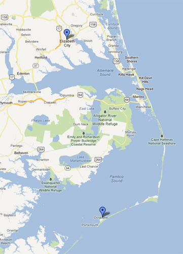 Map depicting Elizabeth City to Ocracoke Island, NC.