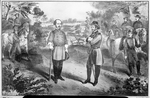 """Gen Johnston's Surrender- a Painting."" General Joseph E. Johnston surrenders to Union General William T. Sherman at Bennett Place, April 1865. From the Barden Collection, North Carolina State Archives, Raleigh, NC. Call #: N_53_15_1953"