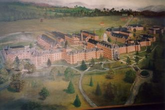 Broughton Hospital (formerly the Western State Asylum for the Insane) designed by Sloan. This painting of the campus, composed in 1914 by Harper Bond. Image courtesy of the North Carolina Division of State Operated Healthcare Facilities.