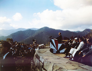 President Franklin D. Roosevelt speaks at the dedication of the Smoky Mountain National Park, September 2, 1940. From Conservation and Development Department, Travel and Tourism photo files, North Carolina State Archives, call #: ConDev2991E, Raleigh, NC.