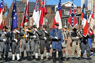 """Maryland Sons of Confederate Veterans marching in the George Washington birthday parade. Alexandria, VA.."""