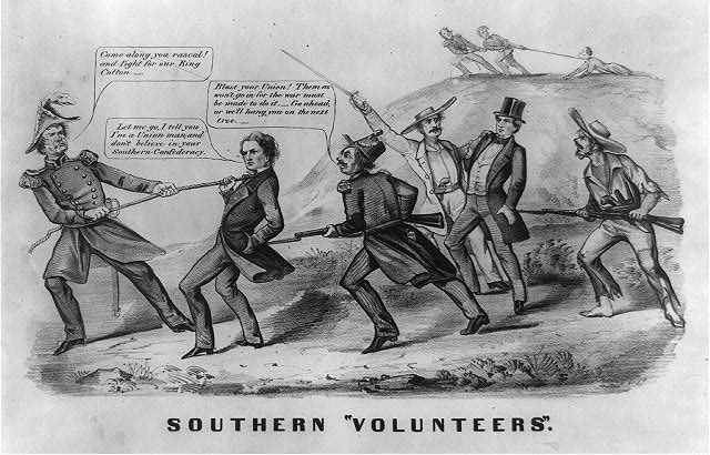 """Southern Volunteers"", ca 1862. Summary from Library of Congress: ""The print may have appeared soon after the Confederate Congress passed a national conscription act on April 16, 1862, to strengthen its dwindling army of volunteers...."" Courtesy of Library of Congress."