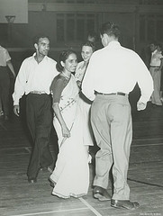 """Square Dancing at the IIE's Summer Orientation, 1953, Duke."" Introduction international students to life in the South. Image courtesy of Duke University Archives."