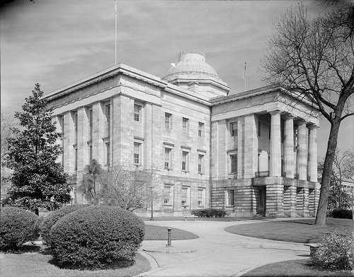 NC State Capitol, Raleigh, NC, from the southeast ,early 1940s. From the Albert Barden Collection, North Carolina State Archives, call #:  N.53.15.558.